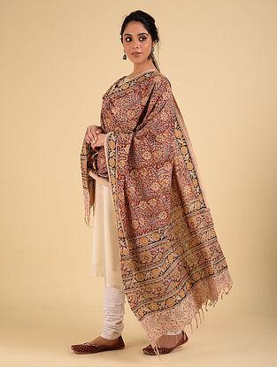 Multicolored Handwoven Handspun Kalamkari Cotton Dupatta
