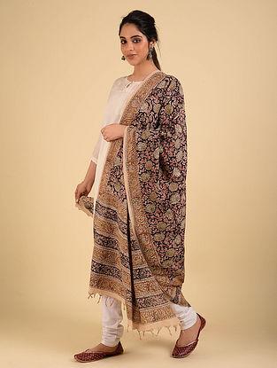 Black-Brown Handwoven Handspun Kalamkari Cotton Dupatta
