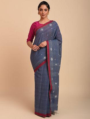 Blue-Red Jamdani Cotton Saree