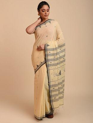 Cream Handwoven Cotton Jamdani Saree