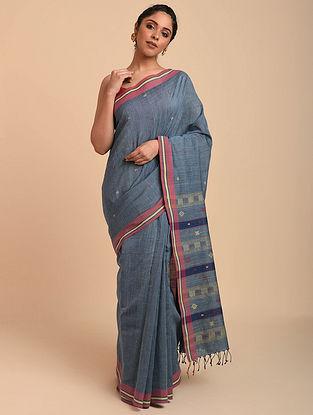 Blue-Pink Jamdani Cotton Saree