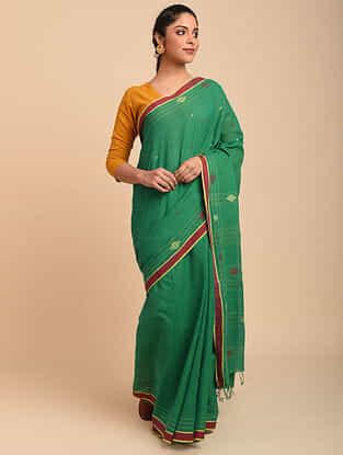 Green Handwoven Cotton Jamdani Saree