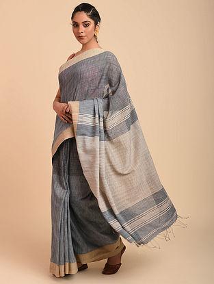 Grey Natural Dyed Cotton Saree