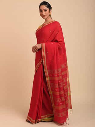 Red Jamdani Cotton Saree