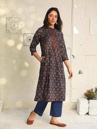 Oorvi - Indigo Natural Dyed Ajrakh Printed Cotton Kurta With Pleats