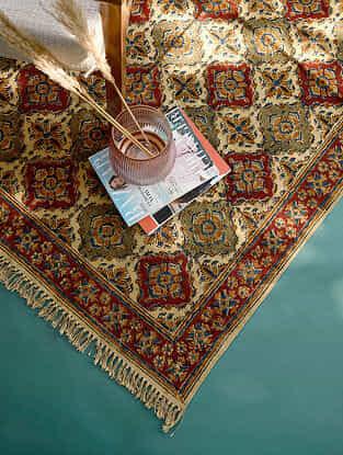 Multicolor Handmade Kalamkari Cotton Rug  (L - 5ft,10in x W - 4ft)