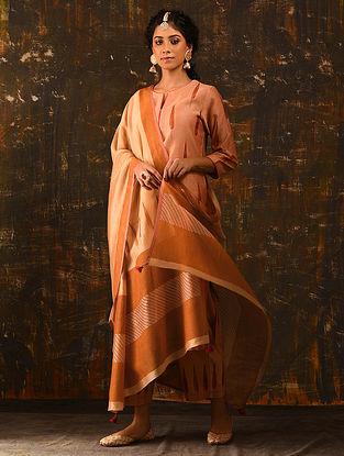 Rust Block Printed Silk Cotton Dupatta with Sequin