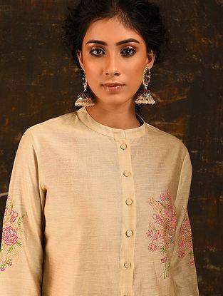 GUL-E-LAHMI - Beige Embroidered Silk Cotton Kurta