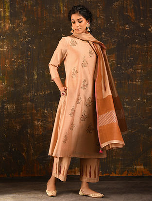 GUL-E-ZAKHEERAH - Peach Block Printed Silk Cotton Kurta with Sequin