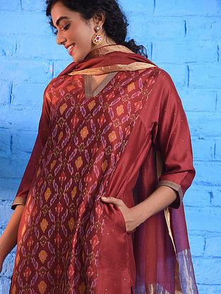 Red Handloom Ikat Silk Cotton Kurta with Slip