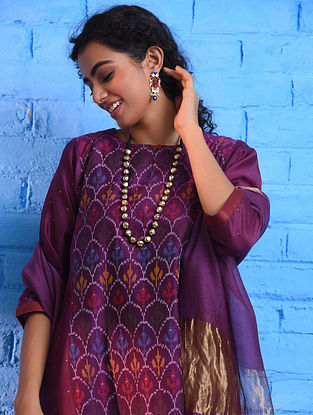 Pink Handloom Ikat Silk Cotton Kurta with Slip