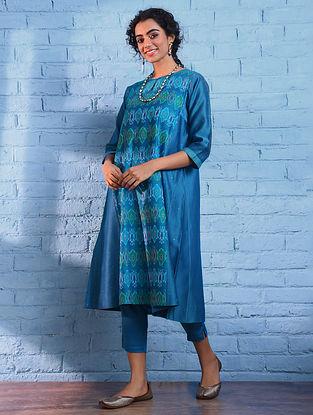 Turquoise Handloom Ikat Silk Cotton Kurta with Slip