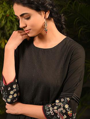 SHEEREENAM - Black Embroidered Cotton Kurta