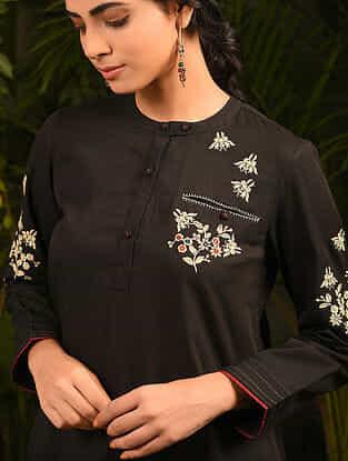 OMRAM - Black Embroidered Cotton Kurta