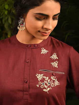 NAZANINAM - Maroon Embroidered Cotton Kurta