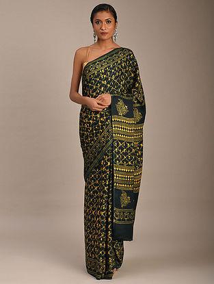 Yellow-Black Block Printed Modal Silk Saree