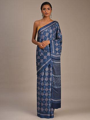 Blue-Grey Block Printed Modal Silk Saree
