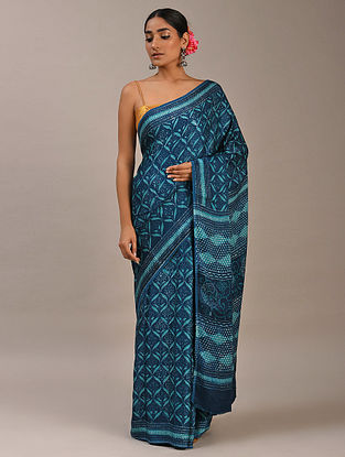 Blue Block Printed Modal Silk Saree