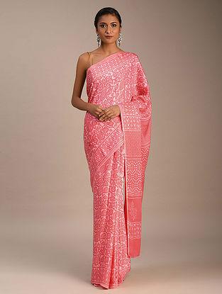 Pink Block Printed Modal Silk Saree