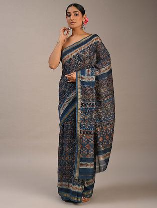Blue Ajrakh Maheshwari Saree
