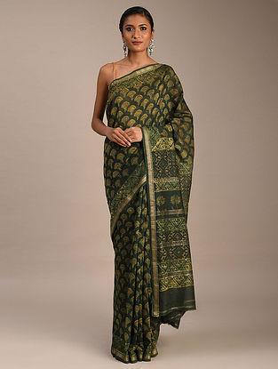 Green Ajrakh Maheshwari Saree