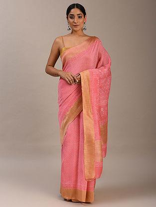 Pink Block Printed Chanderi Saree