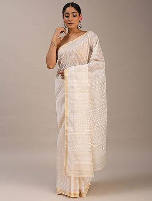 White Block Printed Maheshwari Saree
