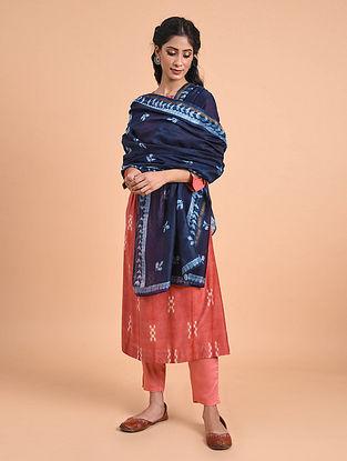 Indigo Natural Dyed Shibori Silk Cotton Dupatta