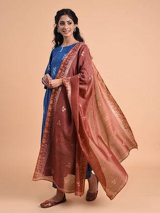 Rust Natural Dyed Shibori Silk Cotton Dupatta