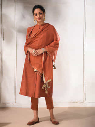Rust Silk Cotton Dupatta with Sequin and Tassels
