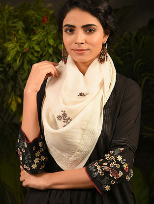 Ivory Embroidered Cotton Scarf