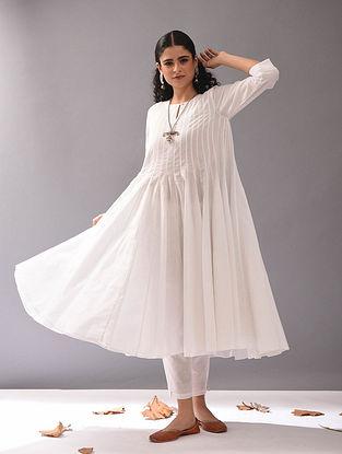 White Cotton Dobby Kalidar Kurta