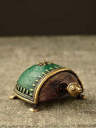 Tortoise Handcrafted Antique Gold Dhokra Tabletop Accent (L - 5.1in, H - 1.9in)