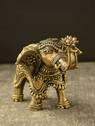 Elephant Handcrafted Antique Gold Dhokra Table Top Accent (L- 7.8in, H- 6.29in)