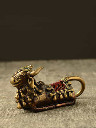 Nandi Handcrafted Antique Gold Dhokra Table Top Accent (L- 5.31in, H- 3.5in)