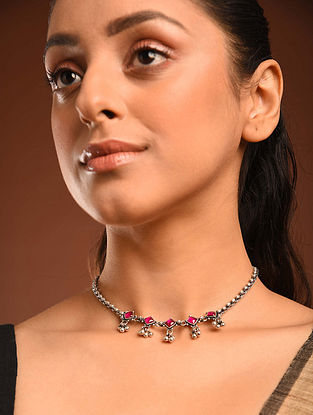 Maroon Temple Silver Choker Necklace