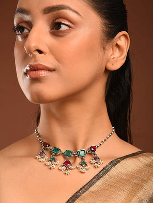 Maroon Green Temple Silver Choker Necklace with Freshwater Pearls
