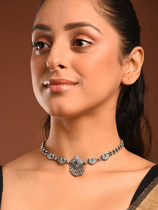 Temple Silver Choker Necklace
