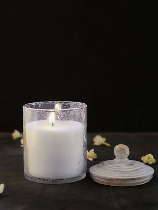 Jasmine Candle With Bubble Glass and Wooden Lid