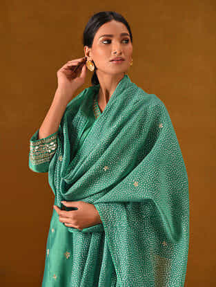 Green Block Printed Silk Cotton Dupatta with Gota Patti Embroidery