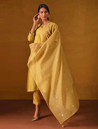 Mustard Block Printed Silk Cotton Dupatta with Gota Patti Embroidery