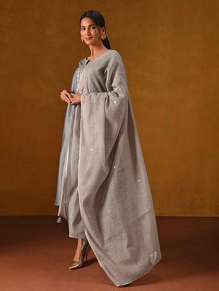 Grey Block Printed Silk Cotton Dupatta with Gota Patti Embroidery