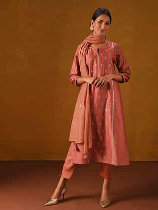ARANKA - Coral Red Silk Cotton Kurta with Gota Patti Embroidery