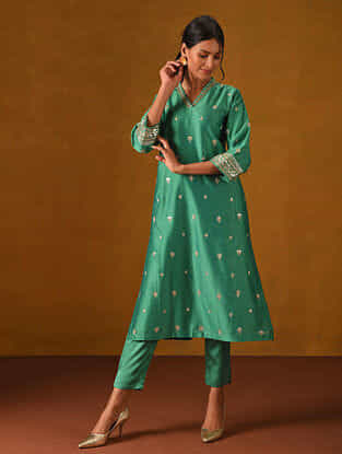 DEHAB - Green Silk Cotton Kurta with Gota Patti Embroidery
