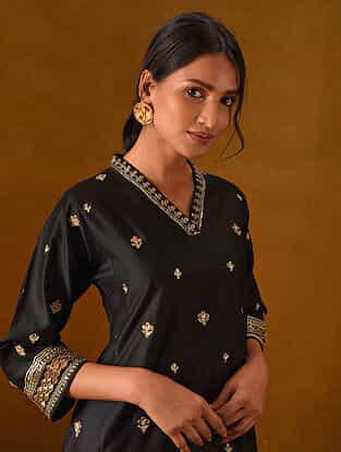 DAYANA - Black Silk Cotton Kurta with Gota Patti Embroidery