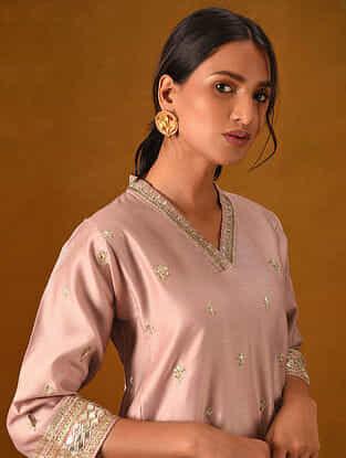 GHURAIB - Pink Silk Cotton Kurta with Gota Patti Embroidery