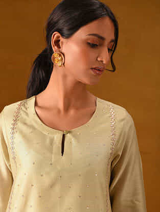 ZEHAB - Off White Silk Cotton Kurta with Gota Patti Embroidery