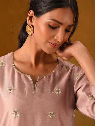 IBREEZ - Pink Silk Cotton Kurta with Gota Patti Embroidery