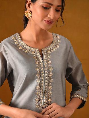 ALTOON - Grey Silk Cotton Kurta with Gota Patti Embroidery