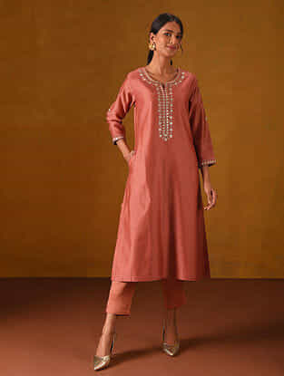 ALTEEN - Coral Red Silk Cotton Kurta with Gota Patti Embroidery